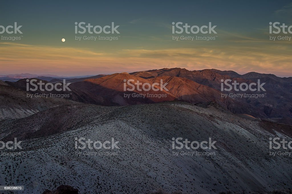 Death Valley Moonrise stock photo