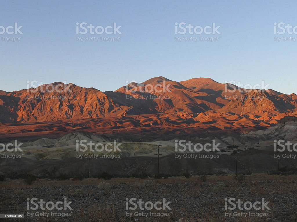 Death valley mountain range - sunset stock photo