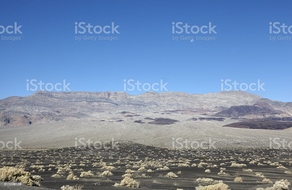 Death Valley National Park : Last Chance Mountain Range and Moon stock photo