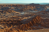 Sunset with a view over the Death Valley in the Atacama Desert in north Chile alike to the moon surface, South America.