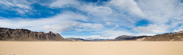 Death Valley Pano A panoramic shot of the racetrack in Death Valley National Park. lake bed stock pictures, royalty-free photos & images