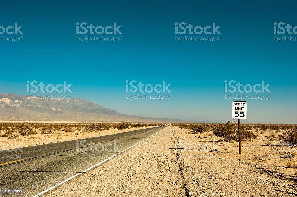 Death Valley Road and Speed Limit stock photo