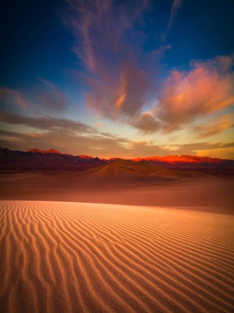 Death Valley sand dune at dusk stock photo