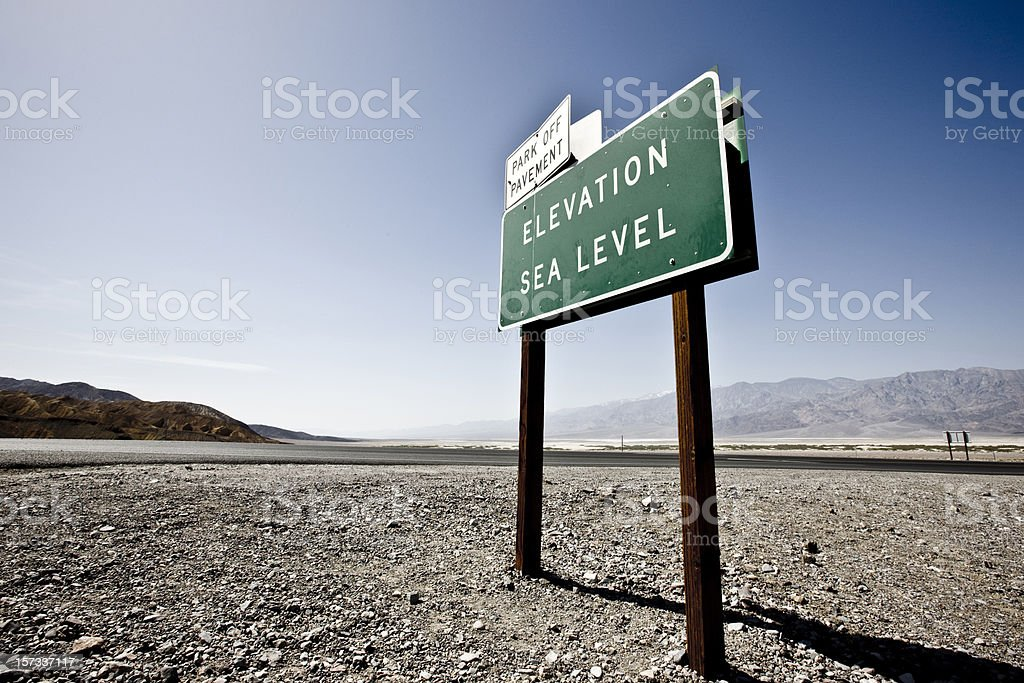 Death Valley Sea Level Sign royalty-free stock photo
