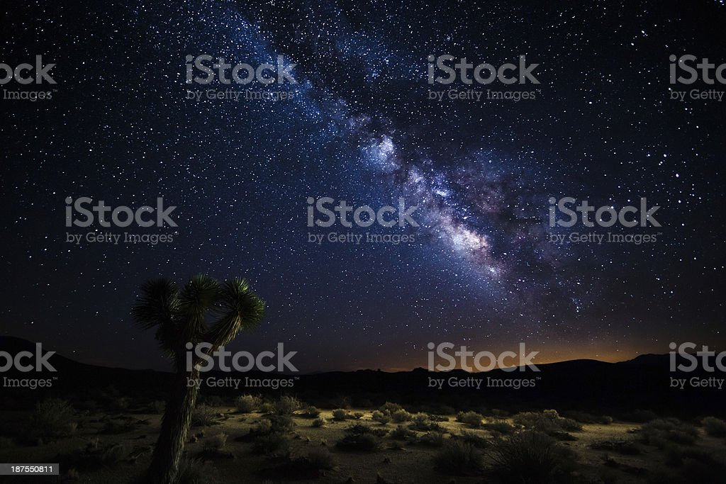 Death Valley silhouette beneath the Milky Way stock photo