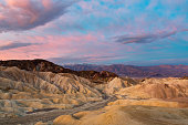 Sunrise view of Golden Canyon, view from Zambriskie Point, Death Valley National Park, California