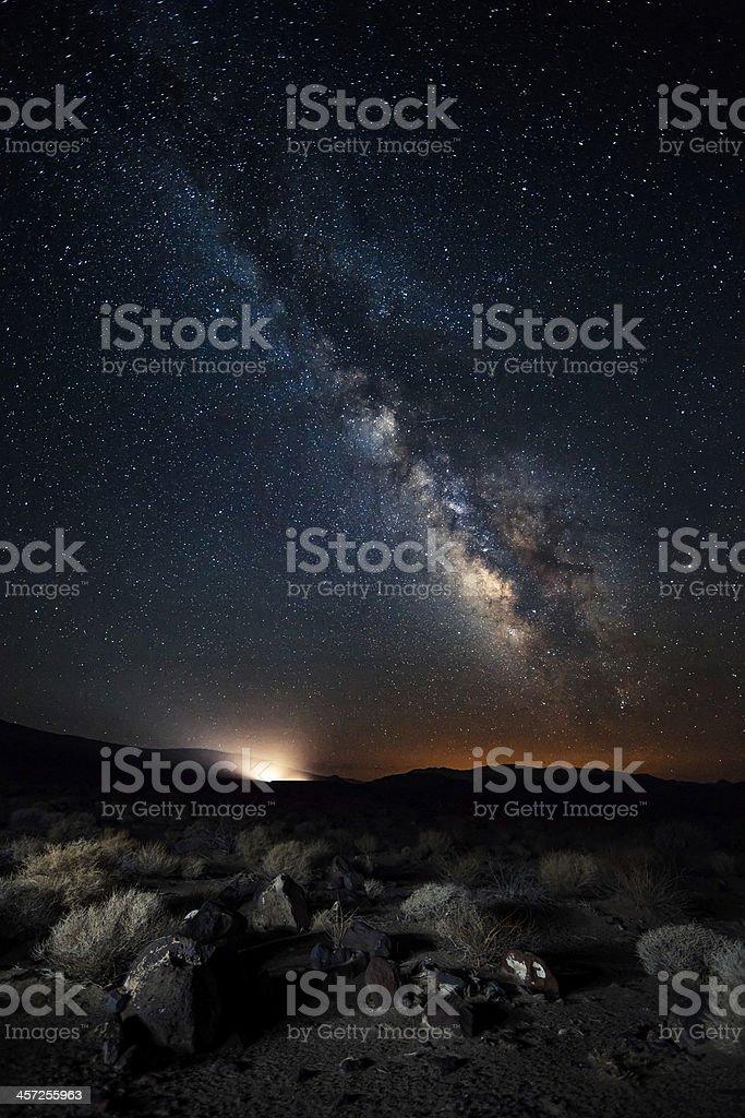 Death valley under the Milky Way stock photo