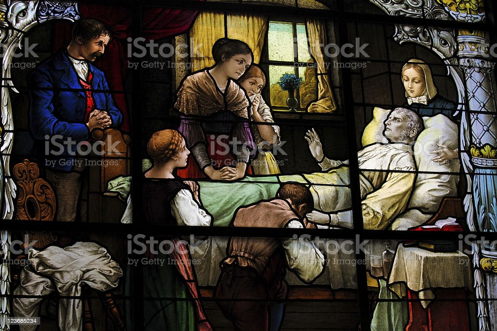 Deathbed gathering royalty-free stock photo