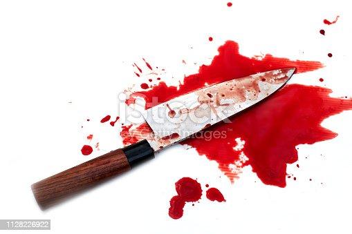 deba knife bloody on wood background, Social violence Halloween concept
