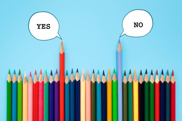 debate, dialog, communication and education concept. color pencil talking about political opinions with speech bubbles - debate стоковые фото и изображения