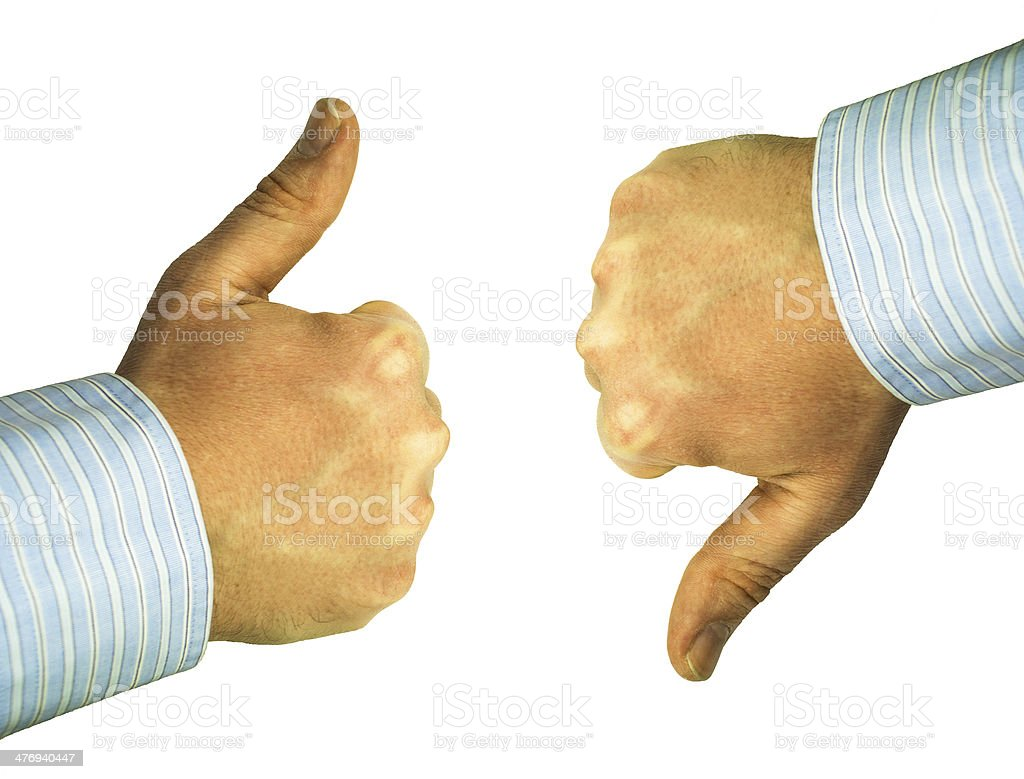 debate, thumbs up and down stock photo