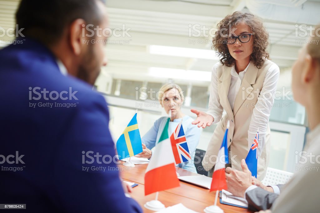 Debating at forum stock photo