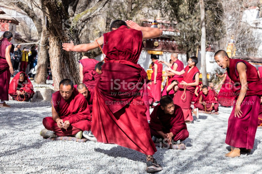 Debating Monks and Gesturing at Sera Monastery in Lhasa, Tibet Autonomous Region, China stock photo