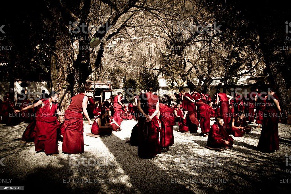Debating monks of Sera monastery, Lhasa, Tibet stock photo