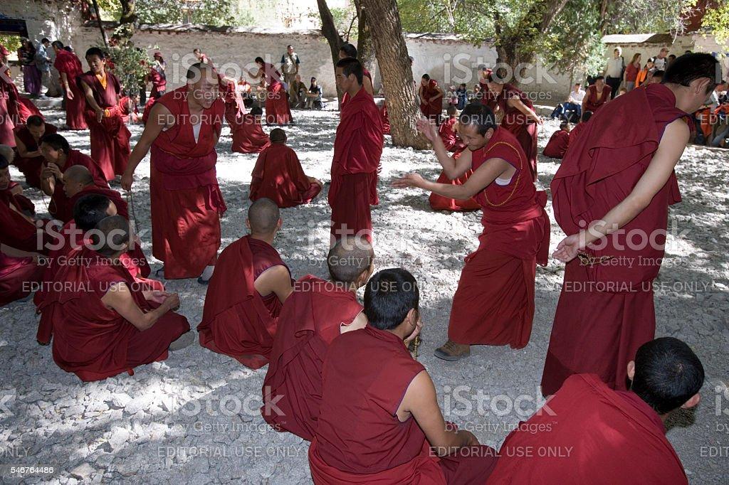 Debating Monks - Sera Monastery - Tibet stock photo