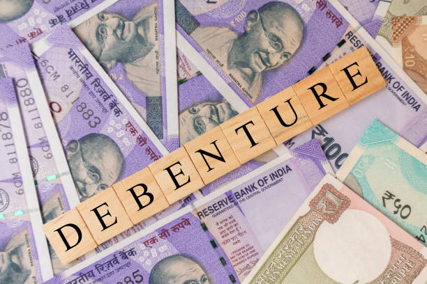 Debenture Business and Financial as concept on Indian currency notes. Debenture Business and Financial as concept on Indian currency notes debenture stock pictures, royalty-free photos & images