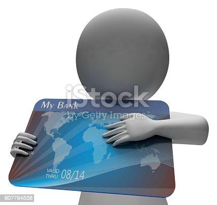 Debit Card Showing Credit Cards And Debt 3d Rendering