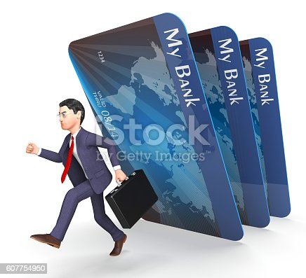 Debit Card Representing Credit Cards And Businessman 3d Rendering