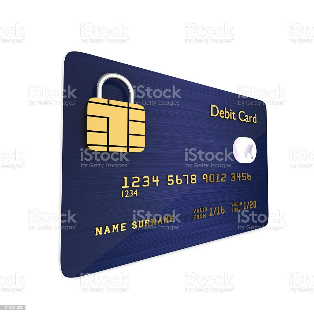 debit card isolated over white background stock photo