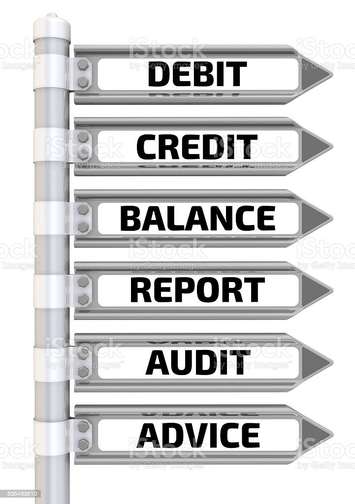 Debit, credit, balance, report, audit, advice. Road sign stock photo