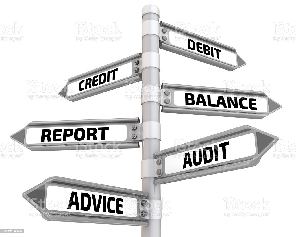 Debit, credit, balance, report, audit, advice. Road signs stock photo