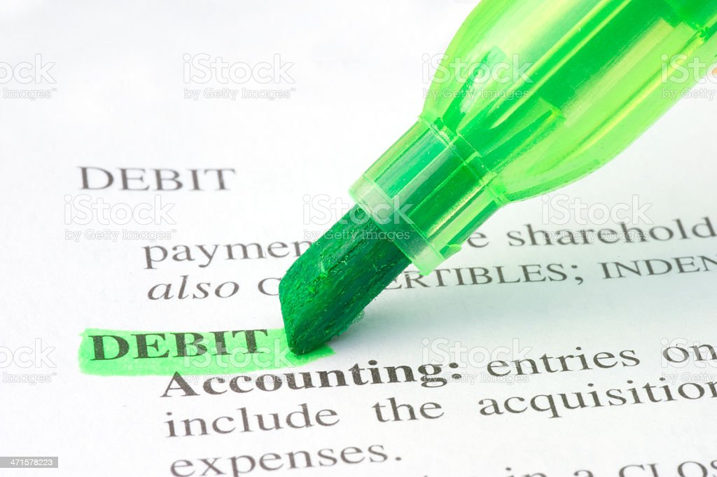 debit definition highlighted in dictionary stock photo