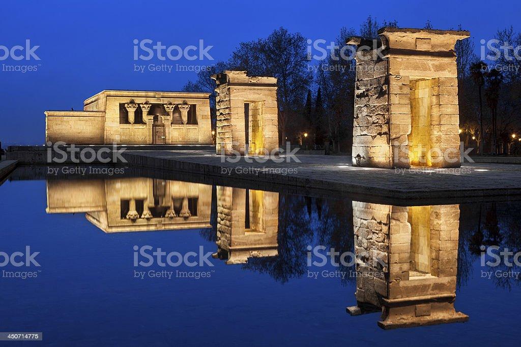 Debod temple at night stock photo