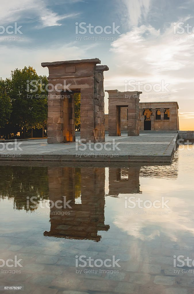 Debod Temple in Madrid at sunset stock photo