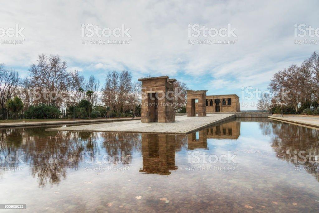 Debod temple in winter. Madrid, Spain stock photo