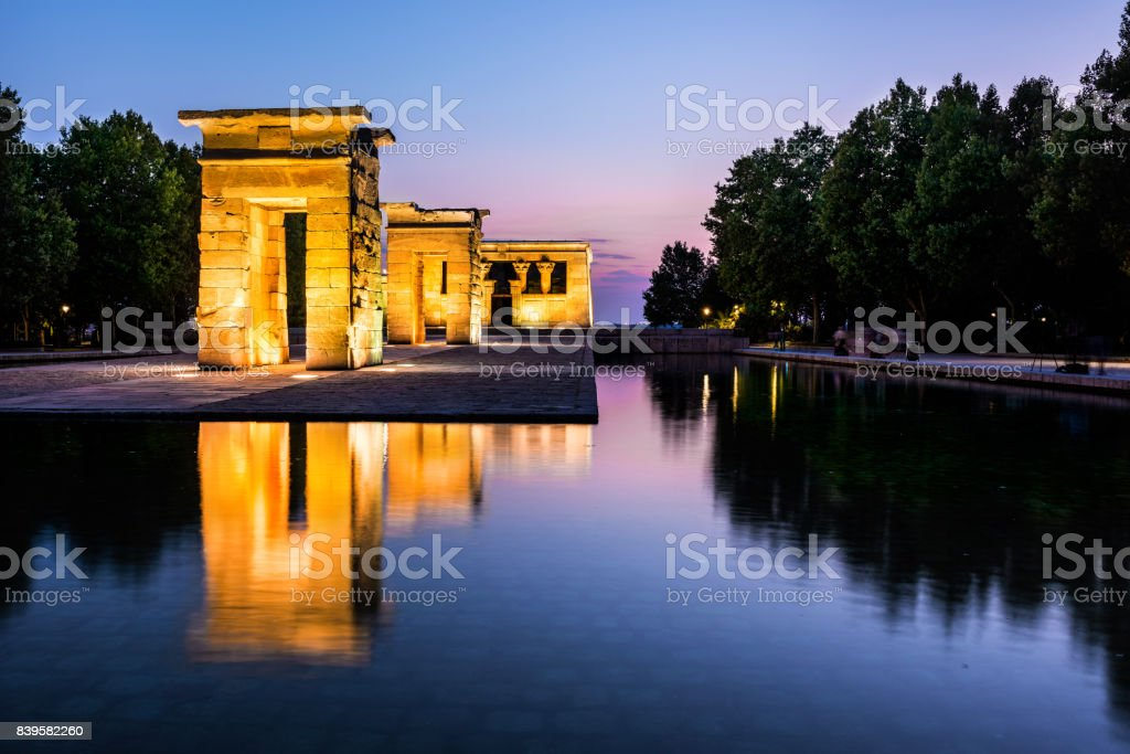 Debod Temple Reflected in the Water at Dusk, Madrid stock photo