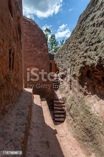 Debre Sina-Mikael an underground Orthodox monolith rock-cut church located in Lalibela, Ethiopia. UNESCO World Heritage Site at Lalibela