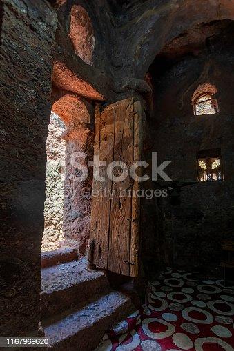 Debre Sina-Mikael an underground Orthodox monolith rock-cut church located in Lalibela, Ethiopia. UNESCO World Heritage Site at Lalibela