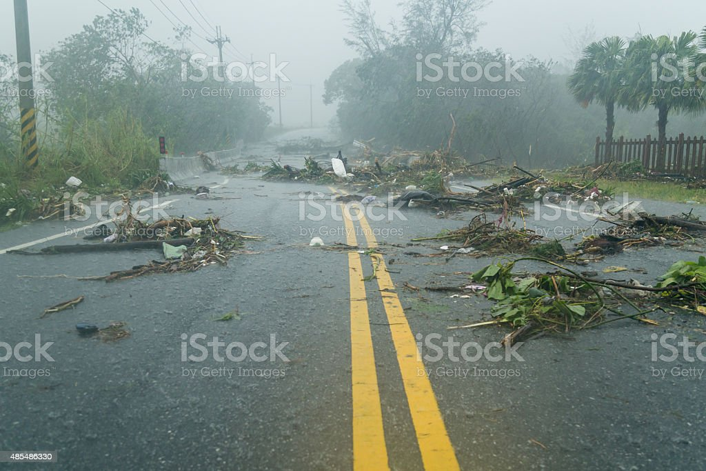 Debri in road during typhoon stock photo