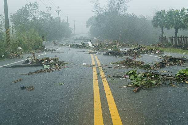 debri in road during typhoon - extreme weather stock pictures, royalty-free photos & images