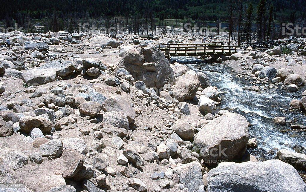 Debris Flood Event Rocky Mountain National Park Big Thompson River stock photo