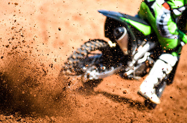 debris from a motocross race - motorbike racing stock photos and pictures