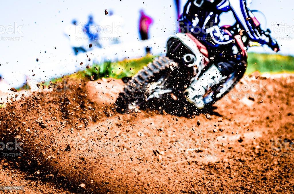 Debris from a motocross race stock photo