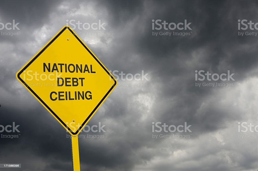 Debt Ceiling Road Sign stock photo