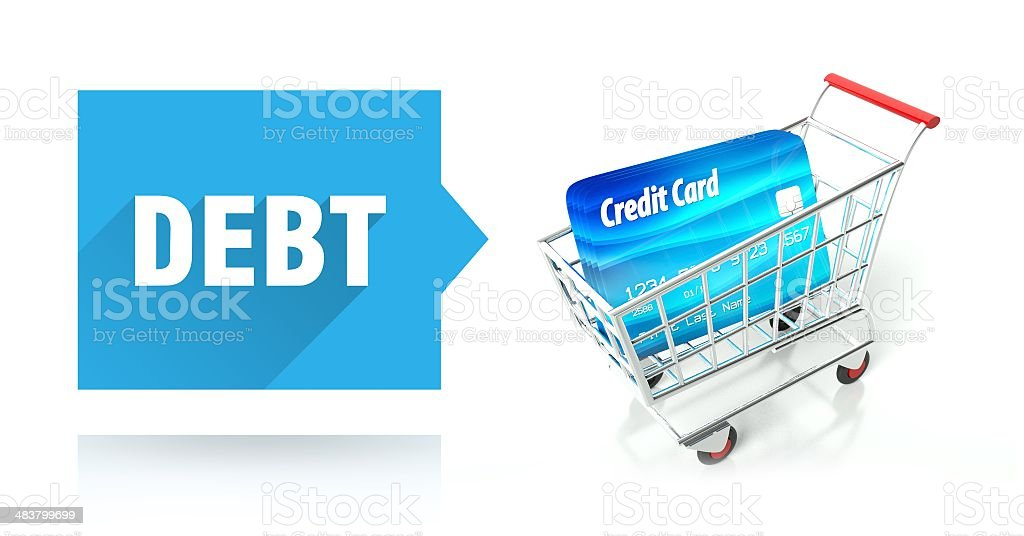 Debt concept, credit card and shopping cart stock photo