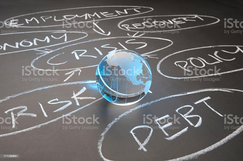 Debt crisis flowchart on a chalkboard royalty-free stock photo