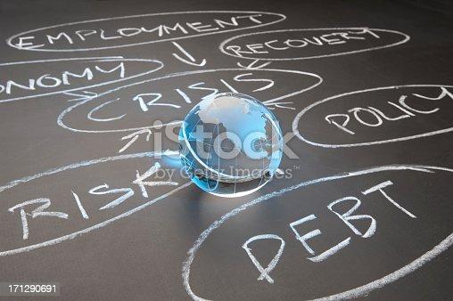 istock Debt crisis flowchart on a chalkboard 171290691