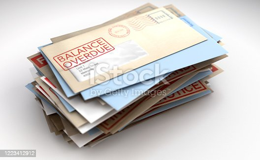 A pile of envelopes with delivery stamps saying balance overdue symbolizing bills and debt on an isolated white background - 3D render