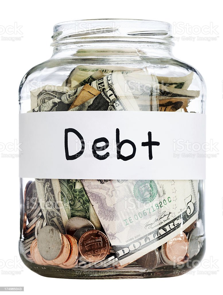 Debt Jar w/ Clipping Path royalty-free stock photo