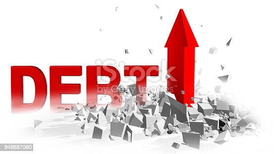 istock debt red arrow ruins explosion  background - 3d rendering 948687060