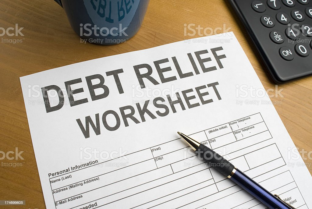 Debt Relief Worksheet royalty-free stock photo