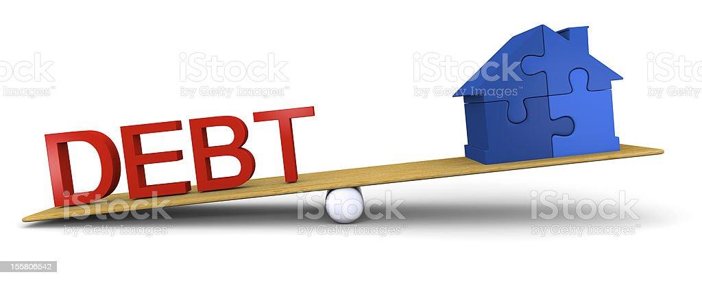 Debt versus house royalty-free stock photo