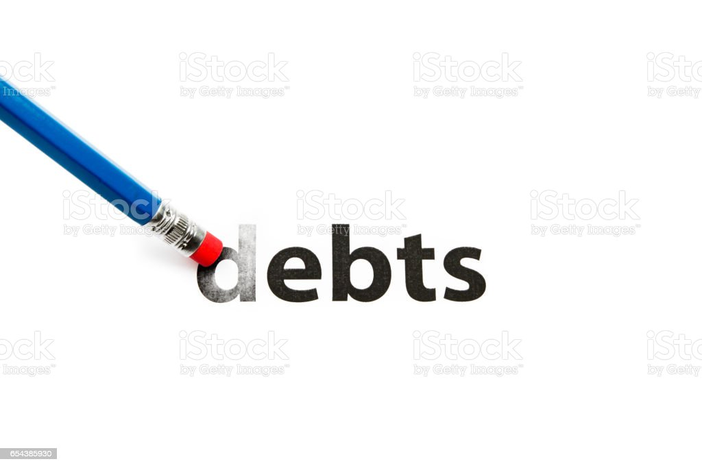 Debts and eraser stock photo