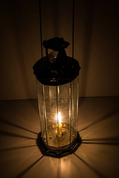 decagon glass lamp, candle light up. - decagon stock pictures, royalty-free photos & images