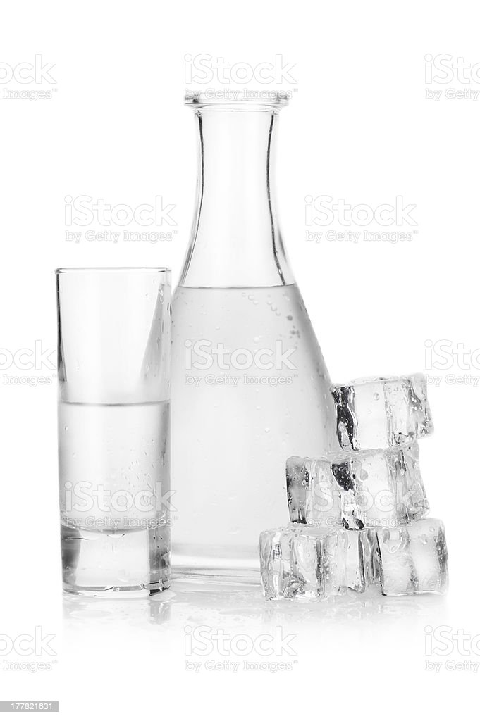 Decanter and glass of iced vodka royalty-free stock photo
