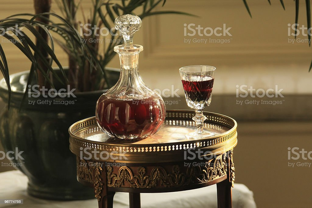 Decanter and Glasses stock photo